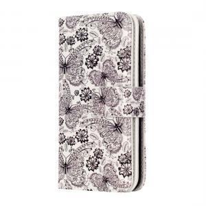 Plånboksfodral för iPhone 8/7 - Vit med fjärilar och blommor