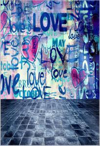 Vinylbakgrund 1.5x2.1m - Graffiti Love
