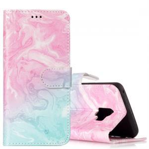 Plånboksfodral för Galaxy S9 - Marmormönster rosa & blå