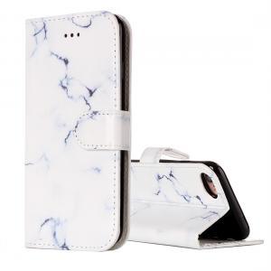 Plånboksfodral för iPhone 7 & 8 - Konstläder marmor vit
