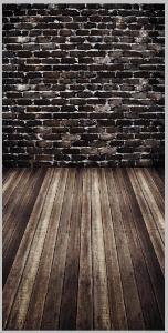 Vinylbakgrund 1.5x3.0m - Brunt trägolv & Brunt tegel