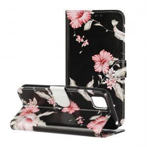 Plånboksfodral för Huawei Y5p - Svart med rosa blommor