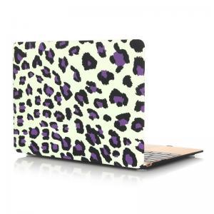 Skal för Macbook 12-tum - Leopardmönster vit & lila