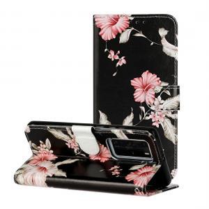 Plånboksfodral för Huawei P40 Pro - Svart med rosa blommor