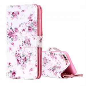 Plånboksfodral för iPhone 8/7 Plus - Vit med blommor