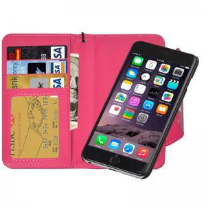 Plånboksfodral handledsrem med avtagbart skal för iPhone 6/6S - Mörkrosa