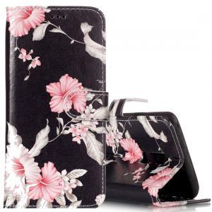 Plånboksfodral för Galaxy S9 Plus - Svart med rosa blommor