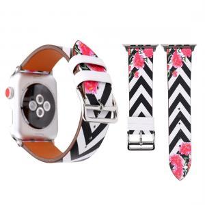 Armband för Apple Watch 38mm - Konstläder zickzack med blommor