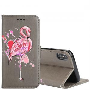 Plånboksfodral för iPhone X - Grå med rosa flamingo