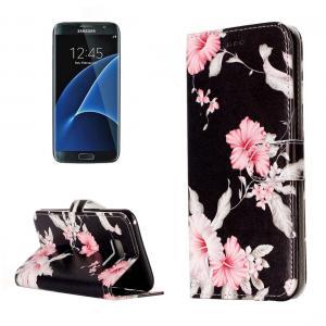 Plånboksfodral för Galaxy S8 Plus - Svart med rosa blommor