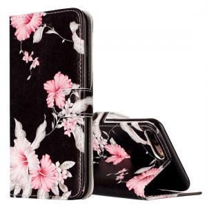 Plånboksfodral för iPhone 7 & 8 Plus - Svart med rosa blommor