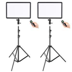 Godox Paket 2x LEDP260C ultratunt Videoljus & 2x rejäla Studiostativ 260cm