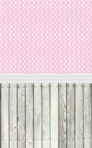 Vinylbakgrund 1.5x2.2m - Trägolv & Vita prickar rosa