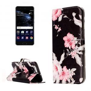 Plånboksfodral för Huawei P10 - Svart med rosa blommor