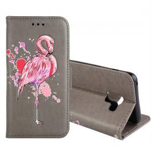 Plånboksfodral för Galaxy A8 Plus (2018) - Grå med rosa flamingo