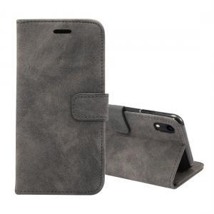 Plånboksfodral för iPhone XR - Svart/grå med mockakänsla