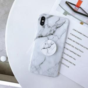 Mjukskal med grepp för Iphone XR - Marmormönster vit