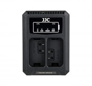 JJC USB-driven dubbel batteriladdare för Nikon EN-EL25