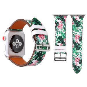 Armband för Apple Watch 38mm - Konstläder gröna blad rosa blommor