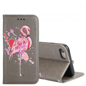 Plånboksfodral för iPhone 7/8 - Grå med rosa flamingo