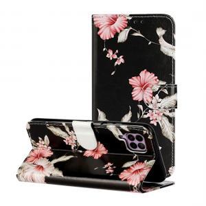 Plånboksfodral för Huawei P40 Lite - Svart med rosa blommor