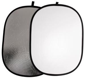 Reflexskärm Silver & Vit Oval