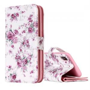 Plånboksfodral för iPhone X - Vit med rosa rosor