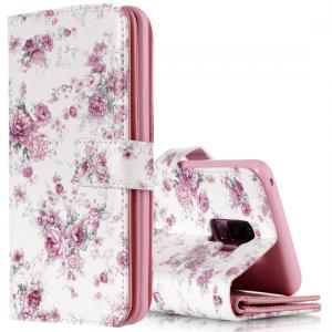 Plånboksfodral för Galaxy S9 Plus - Vit med lila rosor