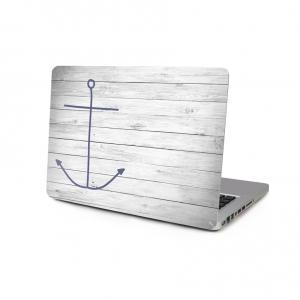 Skin för för Macbook 12-tum - Blått ankare med vitt trämönster