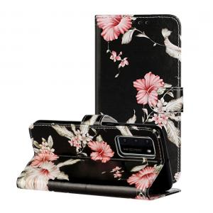 Plånboksfodral för Huawei P40 - Svart med rosa blommor