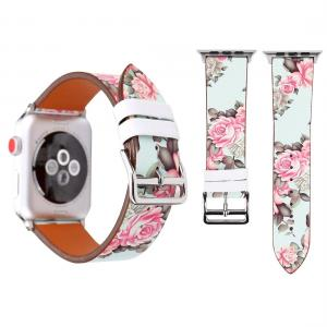 Armband för Apple Watch 38mm - Konstläder mintgrön med blommor