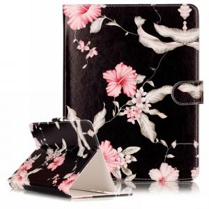Universalt fodral till surfplatta 7 tum - Svart med rosa blommor