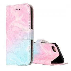 Plånboksfodral för iPhone 7 & 8 - Marmormönster rosa & blå