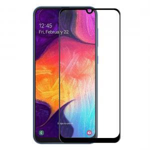 Displayskydd med svart ram för Galaxy A30/A50 av härdat glas