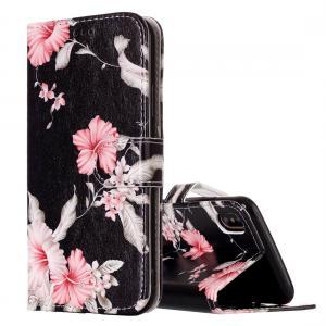 Plånboksfodral för iPhone X - Svart med rosa blommor