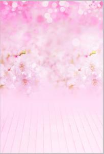 Vinylbakgrund 1.5x3m - Rosa blommor & Bokeh