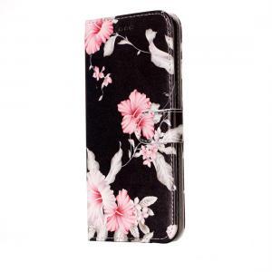 Plånboksfodral för Huawei P10 Lite- Svart med rosa blommor
