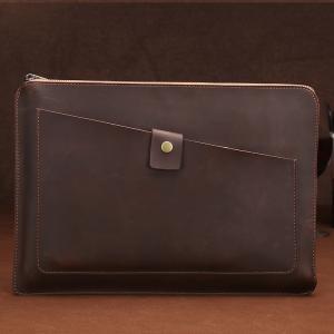 Laptopväska - Äkta läder mörkbrun