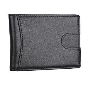 Svart plånbok i äkta läder med RFID-Skydd & Sedelklämma