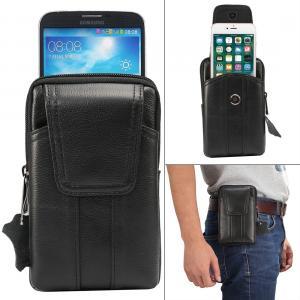 Bältesväska Universal 6.2 tum mobil med plats för kort i äkta läder