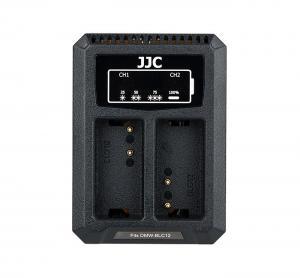 JJC USB-driven dubbel batteriladdare för Panasonic DMW-BLC12 Leica BP-DC12