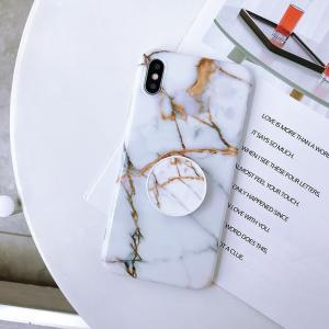 Mjukskal med grepp för Iphone XR - Marmormönster vit / koppar