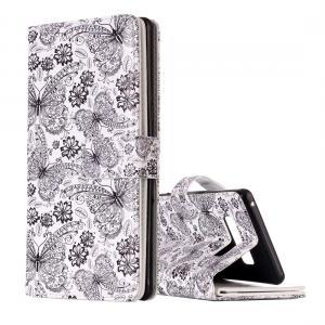 Plånboksfodral för Galaxy Note 8 - Vit med fjärilar och blommor