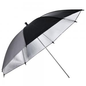 Fotoparaply Silver med svart utsida
