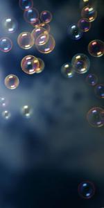 Vinylbakgrund 1.5x3.0m - Mörkblå med såpbubblor