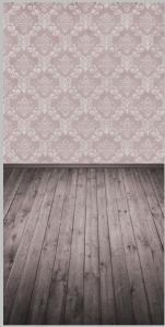 Vinylbakgrund 1.5x3.0m - Trägolv & Damaskmönster grålila
