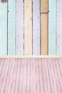 Vinylbakgrund 1.5x2.2m - Rosa trägolv & Pastellfärgade plankor