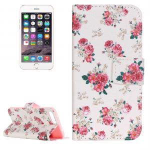 Plånboksfodral för iPhone 8P/7P - Vit med rosa blommor