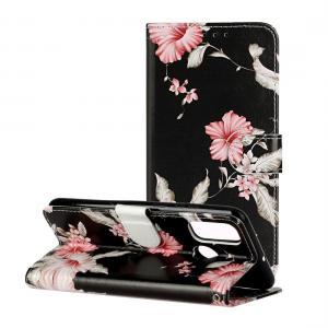 Plånboksfodral för Huawei P smart (2020) - Svart med rosa blommor