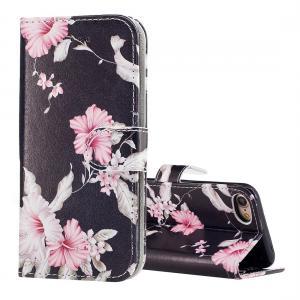 Plånboksfodral för iPhone 8/7 - Svart med rosa blommor